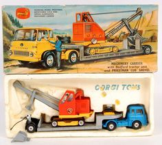 Lot 1755 - Corgi Toys, gift set No.27, machinery carrier with Bedford tractor unit and Priestman Cub shovel,