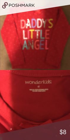 "WonderKids Daddy's Little Angel Red Top 4T Red with white polka dots long sleeved girls top that says ""Daddy's Little Angel"" in neon colors and glitter. EUC. Size 4T. 60% Cotton, 40% Polyester. WonderKids Shirts & Tops Tees - Long Sleeve"