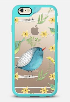 Birds & Flowers iPhone 6 case in Teal and Clear by @samantharanlet   @casetify