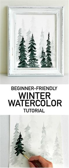 Get Your Winter On! Paint This Fast and Fabulous Watercolor Pine Forest - Frame a few of these watercolor forest paintings for fast, classy Christmas decorations. Learn how - Forest Painting, Winter Painting, Watercolour Tutorials, Watercolor Techniques, Watercolor Beginner, Painting Techniques, Christmas Art, Christmas Paintings, Amazon Christmas