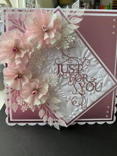 Flower Cards, Paper Flowers, Chloes Creative Cards, Stamps By Chloe, Diy Cards, Handmade Cards, Embossed Cards, Creative Crafts, Hobbies And Crafts