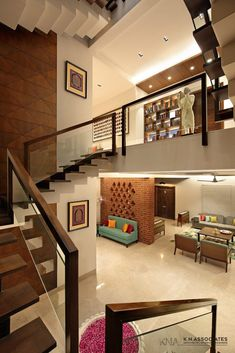 Modern Residence Is An Interesting Mix Of Different Styles : Contemporary Mixed With Traditional | KN Associates - The Architects Diary Interior Design Blogs, Modern Interior Design, Interior Architecture, Interior Decorating, Interior Ideas, Interior Designing, Room Interior, Wooden Cladding, Brick Design