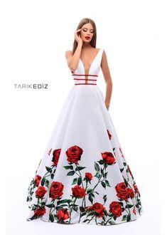 e2a8c12eb75 Prom 18   50275 - Princess taffeta floral print dress with V neck