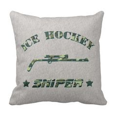 Ice Hockey Sniper Pillow Sports Jersey Style With Name & Number. Hockey throw pillow with easy to customize name and number print on one side. Available with cotton or polyester covers. Priced from $33.95. To see this design on the full range of products, please visit my store: www.zazzle.com/gamefacegear*/ #IceHockey