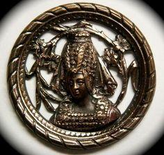 ButtonArtMuseum.com - Antique large openwork metal button - Queen Isabella of Bavaria
