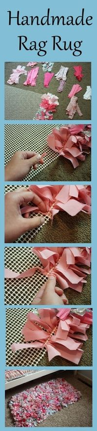 Easy rag rug tutorial! by craftaholicsanonymous: Perfect use for scrap fabric! #DIY #Rag_Rug #craftaholicsanonymous