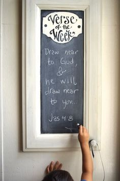 Cabinet Verse of the Week Chalkboard - Scripture Memory - Bible Verse - quote