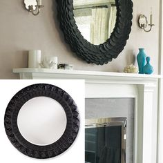 Round mirror over fireplace in living room | Fireplace | Pinterest ...