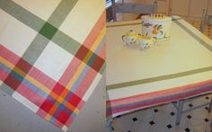Vintage Tablecloth Country Cottage Colorful by unclebunkstrunk