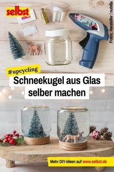 Diese #Upcycling-Idee ist der Hit: Die Basis ist ein leeres #nutella-#Glas, das sich wohl in jedem #Haushalt findet. Wie man daraus eine #Schneekugel #selber machen kann, zeigt das #Video Schritt für Schritt. #nutella #schnee #diy Diy Nutella, Resin, Winter, Corona, Fimo, Diy Snow Globe, Diy Tutorial, Upcycling Ideas, Winter Time