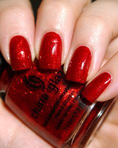 #Red #Glitter #Nails