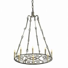 Wrought Iron Deep Ocean Finish Heritage Style Chandelier Ceiling Lamp 8 Lights