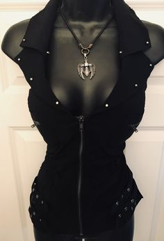 Buckle Up Bling Zippered Vest Punk Outfits, Club Outfits, Girl Outfits, Fashion Outfits, Womens Fashion, Biker Outfits, Biker Chic, Biker Style, Dark Fashion