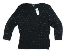 New Nwt ANN TAYLOR Black Silk Sequin Sweater 3/4 Sleeve #AnnTaylor #VNeck