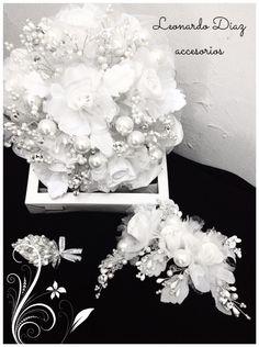 Jgo de ramo tocado y azahar elaborado en perlas y cristal