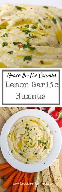 Ditch the package! Why buy expensive store-bought hummus when for just a few dollars and a few minutes you can have this delicious homemade Lemon Garlic Hummus sure to impress all of your friends! Healthy Hummus Recipe, Healthy Snacks, Healthy Eating, Healthy Dishes, Vegetarian Recipes, Cooking Recipes, Healthy Recipes, Appetizer Recipes, Appetizers