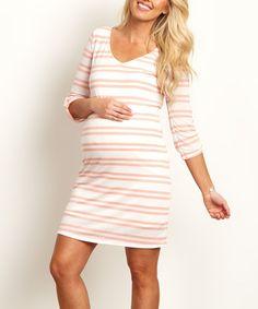 PinkBlush Pink Stripe Three-Quarter Sleeve Maternity Dress