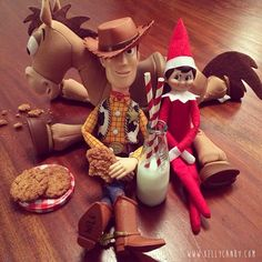 Elf with toy story toys Elf On The Self, The Elf, Elf Toy, Woody, Toy Story, Elves, Christmas Gifts, Toys, Holiday Decor