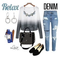 """""""Relax in Denim"""" by coolmommy44 ❤ liked on Polyvore featuring Kate Spade, Hermès, Dot & Bo, women's clothing, women, female, woman, misses, juniors and denim"""