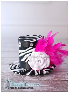 Divalicious Zebra Mini Top Hat with Feathers by threadedcreations, $25.00