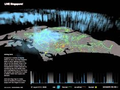 Urban real-time data that reflects patterns in traffic, availability of taxis and clustering in specific areas. Singapore Map, Big Data Visualization, Urban Design Plan, City O, Cellular Network, Holography, Digital Revolution, Projection Mapping, Smart City