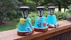 flower pot Solar Garden Lights Using Clay Pots Lighting Your Garden, Backyard Lighting, Flower Pot People, Clay Pot People, Clay Pot Projects, Clay Pot Crafts, Clay Flower Pots, Flower Pot Crafts, Pots D'argile