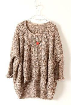 Light Brown Batwing Long Sleeve Loose Sweater