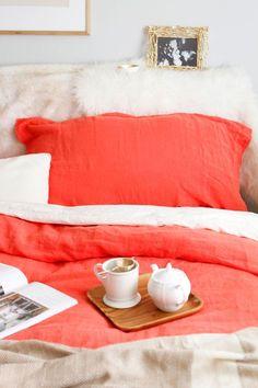 Anthropologie Home + Bedroom Decor // simple coral color Cozy Bedroom, Dream Bedroom, Bedroom Decor, Design Bedroom, Home Design, Anthropologie Home, Linen Duvet, Beautiful Bedrooms, Interiores Design