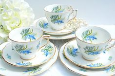 Antique 1950's  Fine Bone China Tea cup and Saucer Trio, English Tea Set Trio.  Cottage Style,Tea Party,Bridal Shower Favor or Gift . on Etsy, $30.00