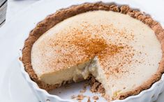 This milk tart is a traditional South African comfort and is usually served chilled as a or afternoon tea treat. Traditional milk tart is usually flavoured with lemon or naartjie rind, cinnamon and a drop of almond essence – no vanilla. Tart Recipes, Sweet Recipes, Vegan Recipes, Dessert Recipes, Yummy Recipes, Recipies, Gluten Free Baking, Gluten Free Desserts, Vegan Desserts