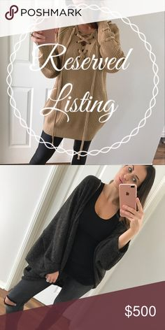 For • Decky 1. Charcoal cocoon sweater ( L ) 2. Mocha tie me up sweater ( M/L ) 3. Light taupe vest ( L )  • Current balance: $164 + Gift  • Close out date: Nov, 16 • See original listings for additional information Other