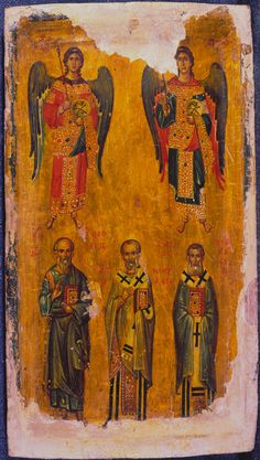 Archangels Michael and Gabriel with Saints John the Theologian, Nicholas, and Athanasius