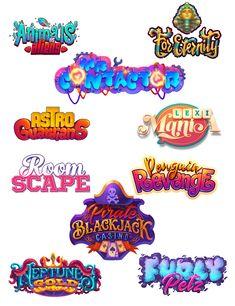 logo, game logo by gamepack studio Graffiti Lettering, Typography Logo, Game Font, Game Ui, Text Games, Video Game Logos, Kids Background, Game Logo Design, Cartoon Logo