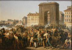 Hippolyte Lecomte (1781-1857), Combat de la porte Saint-Denis, le 28 juillet 1830.