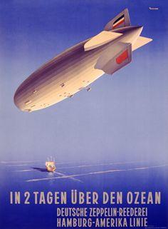 In 2 Tagen uber den Ozean Zeppelin Poster