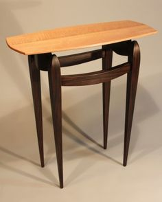 Handmade Curly Maple and Ebonized Mahogany Console Table by Eric Sprenger Fine Woodwork, a member of the Guild of Vermont Furniture Makers. Furniture Movers, Fine Furniture, Unique Furniture, Cheap Furniture, Custom Furniture, Furniture Making, Painted Furniture, Classic Consoles, Hardwood Table