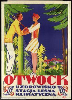 """Uwagę zwraca także barwny plakat nieznanego autora zapraszający do odwiedzenia stacji leśno-klimatycznej w Otwocku.  """"Otwock. Uzdrowisko. Stacja leśna klimatyczna"""", Autor nieznany."""