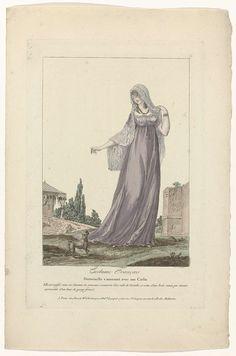 Lace headdress. Costume Français, 1795, No. 7 : Demoiselle s'amusant avec son Carlin..., Anonymous, Basset, c. 1795