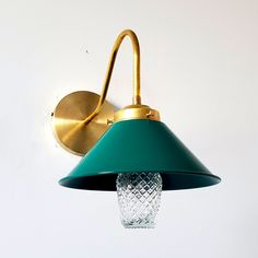 Green and Brass Farmhouse modern cone wall sconce for kitchens, bathrooms, and bedside lighting Cheap Kitchen Decor, Glam Interior Design, Green Home Decor, Sconces, Wall Lights Living Room, Plates On Wall, Brass Wall Sconce, Wall Sconces, Bedside Lighting
