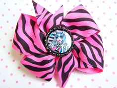 NEW Custom  ROCHELLE GOYLE  bOuTiQuE MONSTER HIGH Hair Bow -Pink CHEETAH
