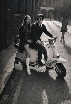 Sixties chic mod hush puppies miniskirt white boots Lambretta SX 200 I was born at the wrong time