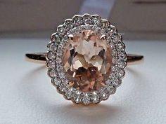 New 1 5ct COR de Rosa Morganite Zircon Double Halo Ring 10K Rose Gold Sz 8   eBay