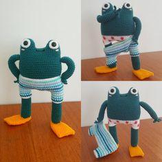 Meet Victor, professional swimwear model 🐸 pattern by pica pau…. – It's All About Better LifeStyle Crochet Frog, Kawaii Crochet, Diy Crochet, Crochet Patterns Amigurumi, Crochet Dolls, Crochet Hats, Amigurumi Tutorial, Swimwear Model, Crochet Cushions