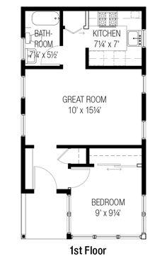 Cottage Style House Plan - 1 Beds 1 Baths 461 Sq/Ft Plan #915-15 Floor Plan - Main Floor Plan - Houseplans.com