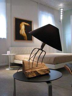 Metal Furniture, Rustic Furniture, Diy Furniture, Furniture Design, Diy Home Decor, Room Decor, Home Lighting Design, Rustic Lamps, Wooden Lamp