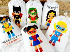 "Girl Super Heroes Birthday favor bags Group 3 part 2 for Treats or small gifts Personalized 5"" x 7"" or 6"" x 8"" Qty 6"