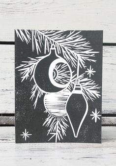 Set Forth Studio – Ornaments Linocut Print Greeting Card, $6 // This greeting card is blank inside, making it perfect for all occasions (especially Christmas!). Buy it now in the shop!