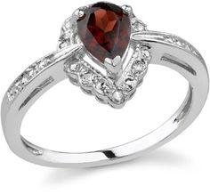 Pear-Shaped Royal Garnet Diamond Ring