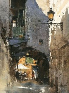 Chien Chung-Wei ~ Would You Like a Cup of Coffee? 37 x 27 cm . Watercolor demo by 簡忠威 Chien Chung-Wei Watercolor City, Watercolor Sketch, Watercolor Artists, Watercolor Techniques, Painting Techniques, Watercolor Paintings, Watercolors, Urban Landscape, Landscape Art