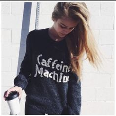 51d2bcc6b34dc NWT SOLD OUT Wildfox Sweater XS Caffeine Machine Coffee Addict Grey Gray  White